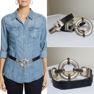 Chicos Hammered Metal Large Round Belt Gold Silver